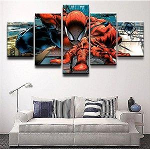 Painel Quadro 5 Partes 110X55cm Vingadores Homem Aranha Spider