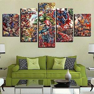 Painel Quadro 5 Partes 110X55cm Quadrinhos Avengers Vingadores