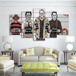 Painel Quadro 5 Partes 110X55cm Personagens De Terror Jason Michael Chuck