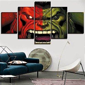 Painel Quadro 5 Partes 110X55cm Vingadores Avengers Hulk