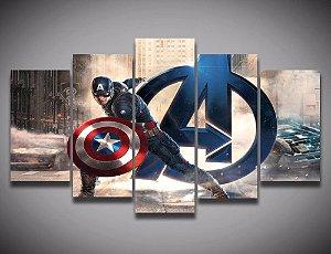Painel Quadro 5 Partes 110X55cm Vingadores Avengers Capitão América