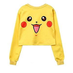 Moletom Cropped Feminino Pikachu Pokemon