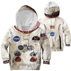 Blusa Moletom Infantil 3d Full Nasa Astronaura Armstrong Traje
