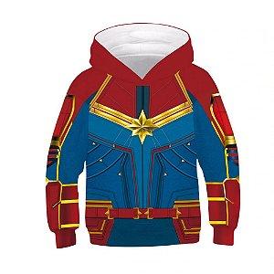 Blusa Moletom Infantil 3d Full Capitã Marvel Vingadores Avengers