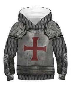 Blusa Moletom Infantil 3d Full Guerreiro Medieval