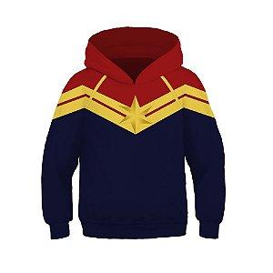 Blusa Moletom Infantil 3d Full Vingadores Avengers Capitã Marvel Uniforme