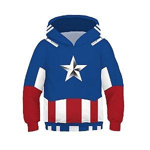 Blusa Moletom Infantil 3d Full Vingadores Avengers Capitão América