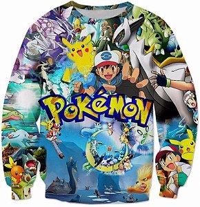 Blusa Moletom Careca 3d Full Pokemon
