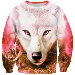 Blusa Moletom Careca 3d Full Lobo Flower