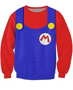 Blusa Moletom Careca Infantil 3d Full Mario Jogo Uniforme