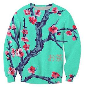 Blusa Moletom Careca 3d Full Flores De Cerejeira Japão