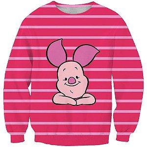 Blusa Moletom Careca 3d Full Ursinho Pooh Leitão