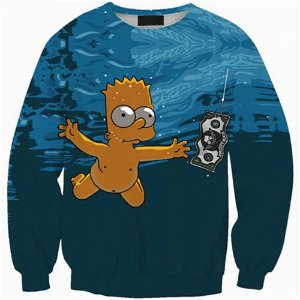 Blusa Moletom Careca 3d Full Nevermind Nirvana Bart