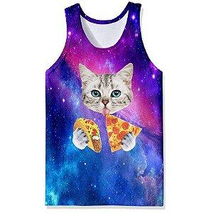 Camiseta Regata 3D Full Gato Galaxia Pizza