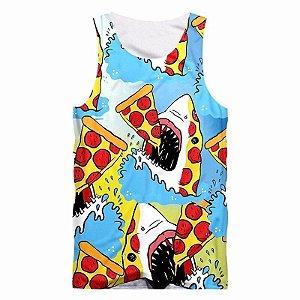 Camiseta Regata 3D Full Pizza E Tubarão