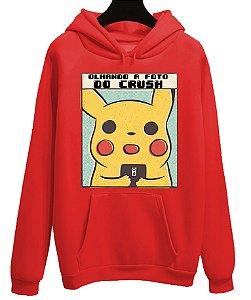 Blusa Moletom Canguru Olhando o Crush Pikachu