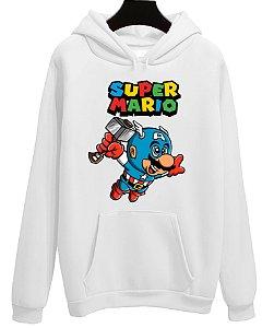 Blusa Moletom Canguru Vingadores Avengers Super Mario Capitão America