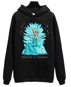 Blusa Moletom Canguru GoT Game Of Thrones Elsa Winter is Coming
