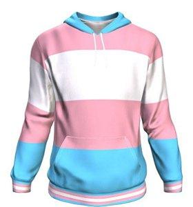 Blusa Moletom Canguru Full 3d LGBT Orgulho Bandeira Transgénero