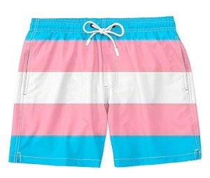 Bermuda Praia Unissex Orgulho Lgbtq Bandeira Trans