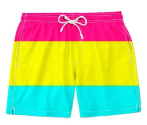 Bermuda Praia Unissex Orgulho Lgbtq Bandeira Pansexual