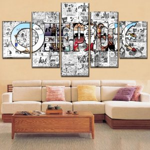 Painel Quadro 5 Partes 110X55cm Anime One PIece Manga