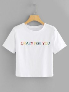 Camiseta Cropped Crazy For You