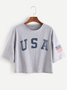 Camiseta Cropped Usa Bandeira