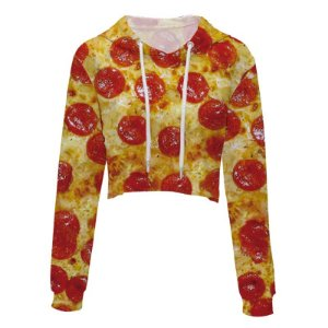 Moletom Cropped 3d Full Pizza De Calabresa