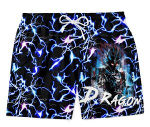 Bermuda Praia Dragon Ball Goku Rain