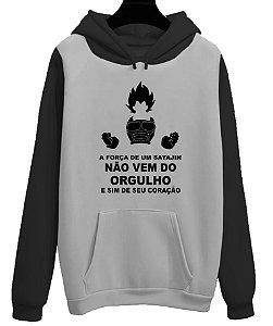 Blusa Moletom Canguru Dragon Ball Vegeta Força Sayajin