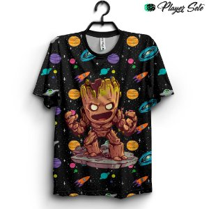 Camiseta 3d Full Groot Guardiões da Galaxia
