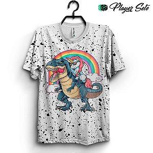 Camiseta 3d Full Anime T-Rex Unicórnio