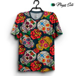 Camiseta 3d Full Caveira Mexicana Flower