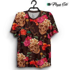 Camiseta 3d Full Caveira Floral