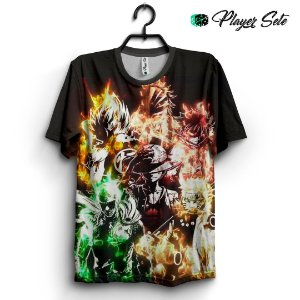 Camiseta 3d Full Crossover De Animes One Punch Luffy Naruto