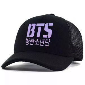 Boné Trucker Telinha BTS Bangtan Boys Logo Roxo Kpop