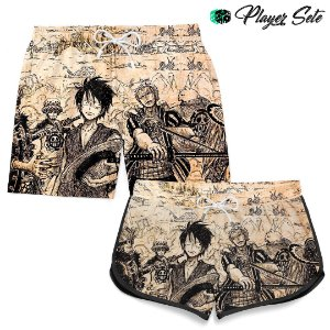 Kit Short Praia Casal Anime One Piece
