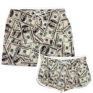 Kit Short Casal Praia Verão Dollar Dinheiro Money