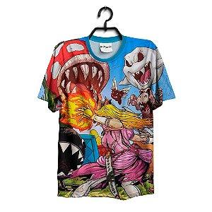 Camiseta 3D Full Jogo Mario Princesa Peach