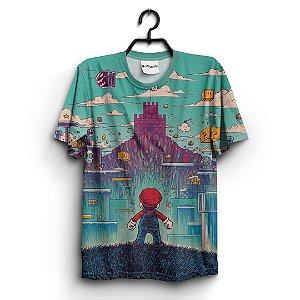 Camiseta 3D Full Jogo Mario Nostalgia