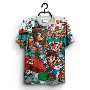 Camiseta 3D Full Jogo Mario Personagens