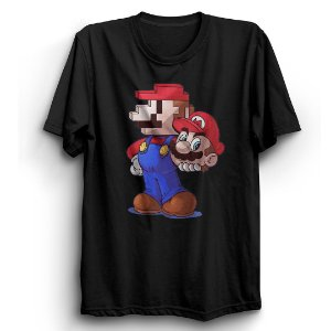 Camiseta Básica  Jogo Mario Duas Faces