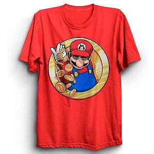 Camiseta Básica Jogo Super Mario Coins