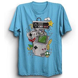Camiseta Básica Jogo Super Mario Nintendo Game Boy
