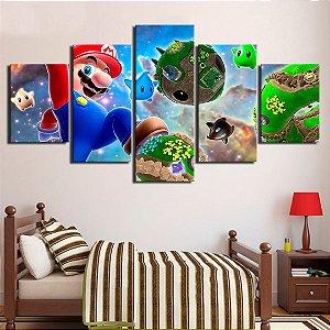 Quadro 5 Telas Decorativo Jogo Mario (110x55 ou 160x90)