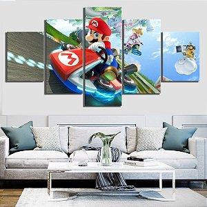 Quadro 5 Telas Decorativo Mario Kart (110x55 ou 160x90)