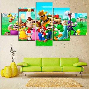 Quadro 5 Telas Decorativo Jogo Mario Personagens (110x55 ou 160x90)