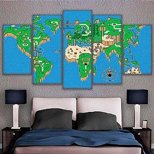 Quadro 5 Telas Decorativo Jogo Mario Mapa (110x55 ou 160x90)