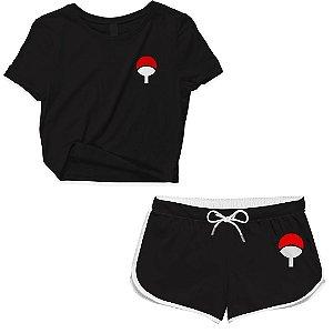 Kit Conjunto Feminino Short + Camiseta Cropped Anime Naruto Clã Uchiha
